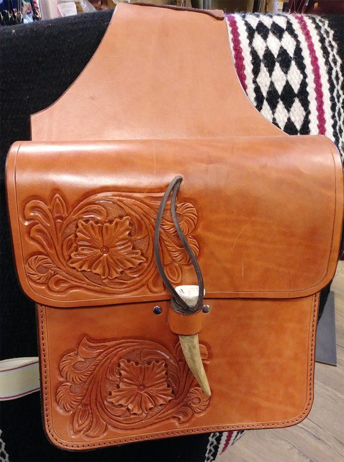 JBS saddlebags with deer horn closure