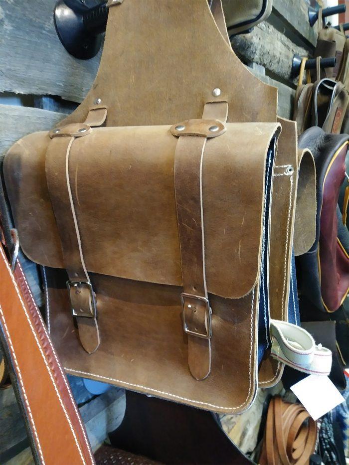 JBS Heavy Chrome tan saddlebags