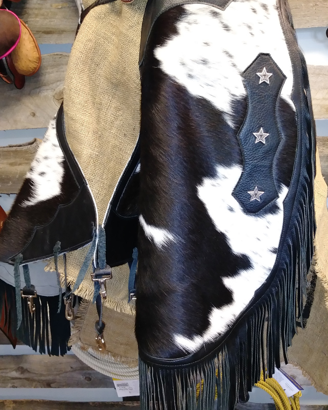 JBS black and white hair on cowhide chinks