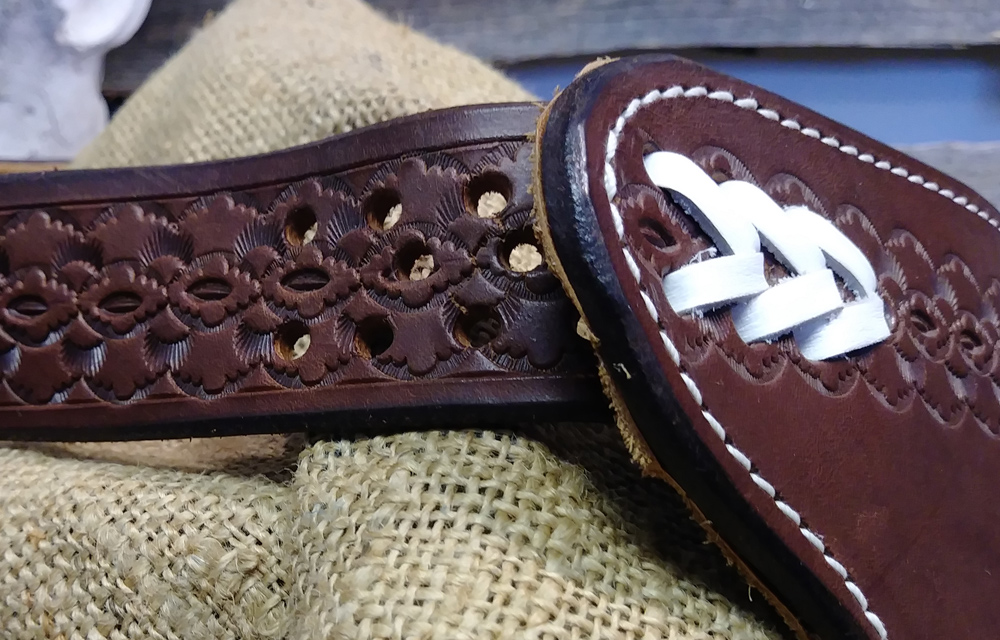 JBS brown distressed show chinks-belt detailed