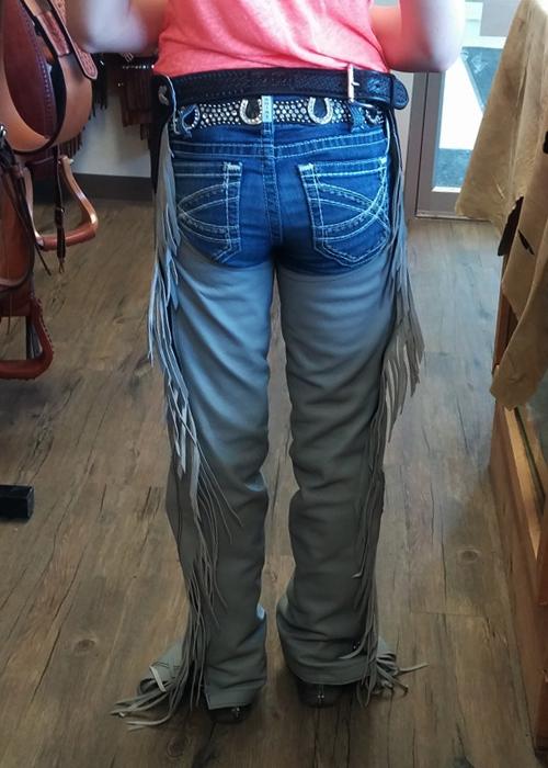 JBS custom show chaps-back-grey
