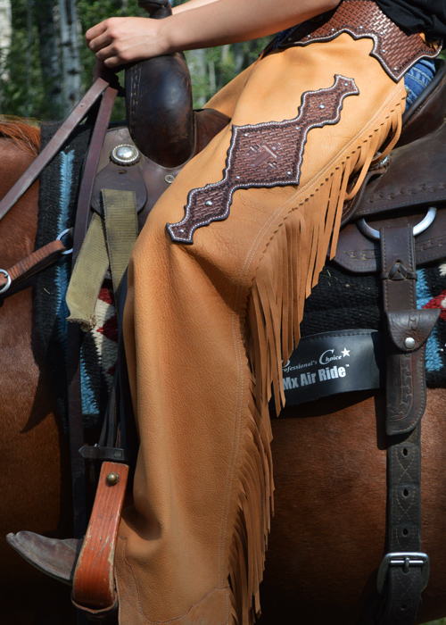 JBS custom show chaps with horse