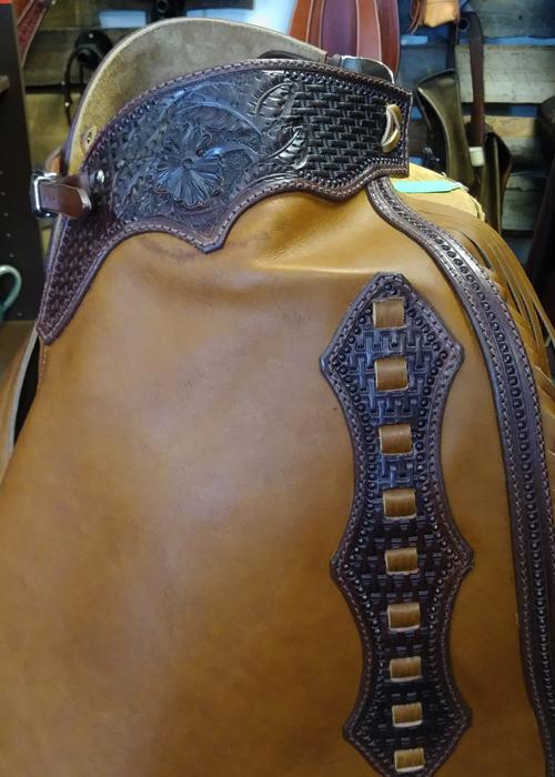 JBS custom working cowboy heavy chaps-detail